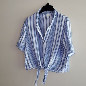 H&M linen blend crop front tie striped shirt